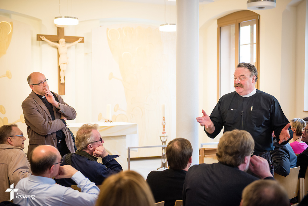The Rev. Dr. Matthew C. Harrison, president of The Lutheran Church–Missouri Synod, leads a tour of the new chapel at The International Lutheran Center at the Old Latin School in Wittenberg, Germany, on Tuesday, May 5, 2015. To the left of Harrison is Bishop Hans-Jörg Voigt of the Independent Evangelical Lutheran Church (SELK). LCMS Communications/Erik M. Lunsford
