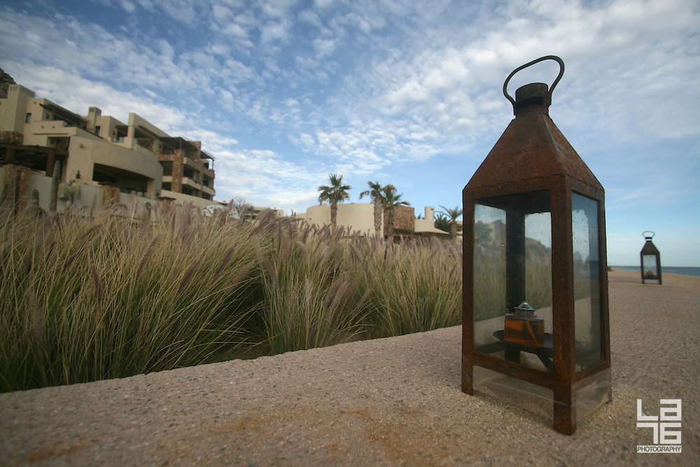 The exterior lamp and a landscaping detail of a beautiful ocean front resort in Cabo San Lucas, Capella Pedregal