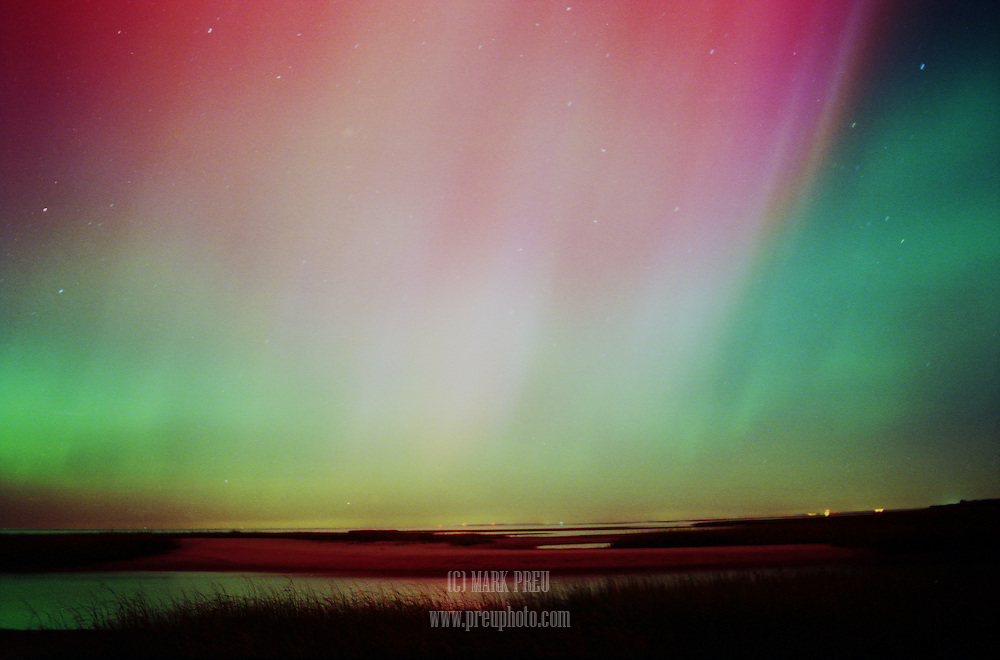 A rare, spectacular display of the Aurora Borealis over Cape Cod Bay- October 30, 2003.