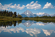Mount Moran reflecting in the Snake River at Oxbow Bend in Grand Teton National Park