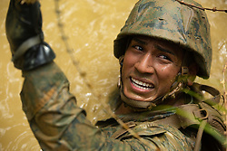 180810-M-MY519-1006 OKINAWA, Japan (Aug. 10, 2018) Seaman Cesar Ramirez-Fajardo maneuvers through razor wire at the Jungle Warfare Training Center, Camp Gonsalves, Okinawa, Japan. Ramirez-Fajardo, from Orlando, Florida, is a field medical service technician with 3rd Law Enforcement Battalion, III Marine Expeditionary Force Information Group. While going through certain obstacles, Marines and Sailors were required to move through murky water, confined spaces and razor wire. (U.S. Marine Corps photo by Pfc. Andrew R. Bray/Released)