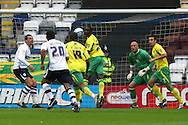 Preston - Saturday September 18th, 2010: Leon Barnett of Norwich clears from under his own crossbar during the Npower Championship match at Deepdale, Preston. (Pic by Paul Chesterton/Focus Images)