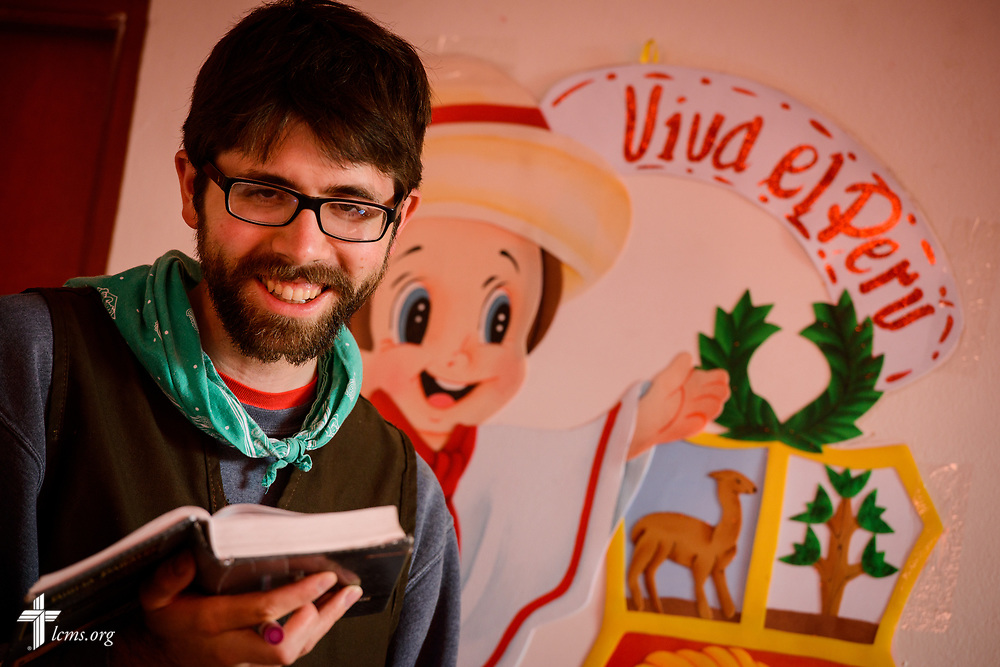 Levi Karth, LCMS GEO missionary to Peru, leads a Bible activity at Castillo Fuerte in the La Victoria district of Lima, Peru on Monday, Nov. 6, 2017.  LCMS Communications/Erik M. Lunsford