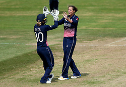 Jenny Gunn of England Women celebrates with Sarah Taylor of England Women after the pair combine to take the wicket of Nicole Bolton of Australia Women - Mandatory by-line: Robbie Stephenson/JMP - 09/07/2017 - CRICKET - Bristol County Ground - Bristol, United Kingdom - England v Australia - ICC Women's World Cup match 19