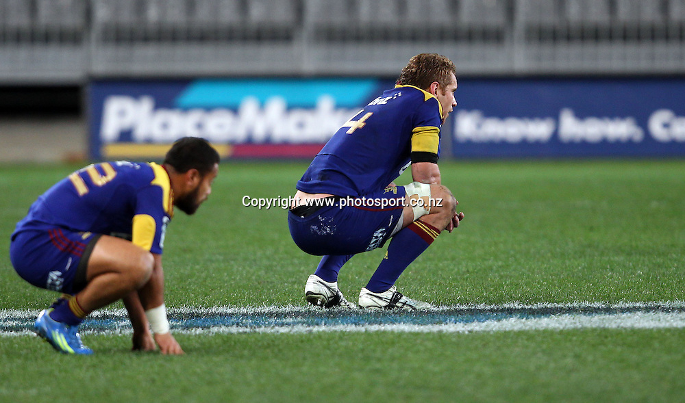Buxtob Popoalii and Jarrad Hoeata show their disappointment of losing to the Chiefs.<br /> Investec Super Rugby - Highlanders v Chiefs, 29 June 2012, Forsyth Barr Stadium, Dunedin, New Zealand.<br /> Photo: Rob Jefferies / photosport.co.nz