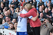 Bury Forward, Ryan Lowe (39) and |Bury Fan after the EFL Sky Bet League 1 match between Bury and Northampton Town at the JD Stadium, Bury, England on 22 April 2017. Photo by Mark Pollitt.