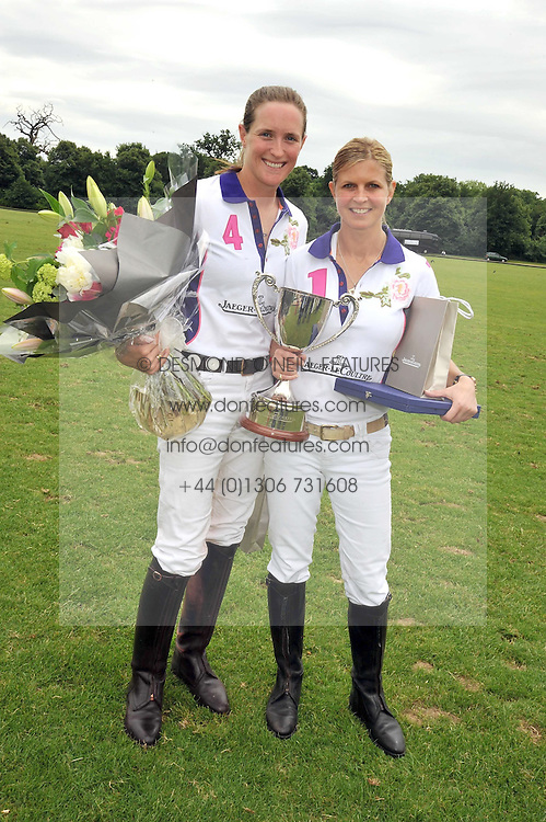 Left to right, NINA CLARKIN and The MARCHIONESS OF MILFORD HAVEN playing polo (white shirt no 1.) at a charity polo match organised by Jaeger Le Coultre was held at Ham Polo Club, Richmond, Surrey on 12th June 2009.