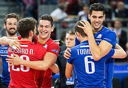 17-10-2015 BUL: Volleyball European Championship Frankrijk - Bulgarije, Sofia<br /> Semifinal in Arena Armeec Sofia / Nicolas Rossard #20 of France, Jenia Grebennikov #2 of France, Benjamin Toniutti #6 of France and Jonas Aguenier #1 of France celebrate after winning<br /> Photo: Vid Ponikvar / RHF<br /> +++USE NETHERLANDS ONLY+++
