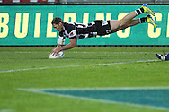 Hawkes Bay's Gillies Kaka dives over for a try in the ITM Cup rugby match between Hawkes Bay and Bay of Plenty played at McLean Park, Napier,  New Zealand. Friday, 21 September, 2012. Photo: John Cowpland / photosport.co.nz