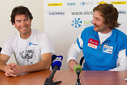 Coach Aljosa Planteu and Filip Flisar, Slovenian freestyle skier competing in ski cross discipline, in season 2011/2012 overall Ski cross World Cup Winner, at press conference after his great success, on March 13, 2012 in Ljubljana, Slovenia.  (Photo By Vid Ponikvar / Sportida.com)