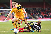 Port Vale defender Nathan Smith (24) and Grimsby Town midfielder Siriki Dembele (27) battles for possession  during the EFL Sky Bet League 2 match between Grimsby Town FC and Port Vale at Blundell Park, Grimsby, United Kingdom on 10 March 2018. Picture by Mick Atkins.