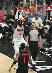 December 17, 2018 - Los Angeles, California, United States of America - Montrezl Harrell #5 of the Los Angeles Clippers goes for a dunk during their NBA game with the Portland Trailblazers on Monday December 17, 2018 at the Staples Center in Los Angeles, California. Clippers lose to Trailblazers, 127-131. JAVIER ROJAS/PI (Credit Image: © Prensa Internacional via ZUMA Wire)