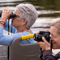 Lindblad guests observe wildlife using cameras and binoculars on the Yanayacu River in the Pacaya-Samiria National Reserve in the Peruvian Amazon.
