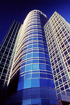 Futuristic glass highrise office tower of Surety Life in SLC, UT