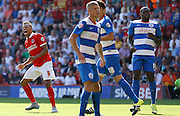 Jordan Cousins lets fly from just outside the box during the Sky Bet Championship match between Charlton Athletic and Queens Park Rangers at The Valley, London, England on 8 August 2015. Photo by Andy Walter.