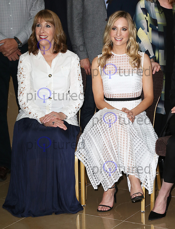 Phyllis Logan, Joanne Froggatt, Downton Abbey - Final Season press launch photocall, The May Fair Hotel, London UK, 13 August 2015, Photo by Richard Goldschmidt