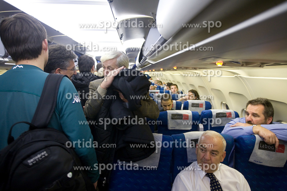 Turk Rudi, Franc Kopatin and Stane Orazem at airplane from Moscow to Maribor and Ljubljana after the FIFA World Cup South Africa 2010 Qualifying play-off match between Russia and Slovenia, on November 14, 2009, in Moscow, Slovenia.   (Photo by Vid Ponikvar / Sportida)