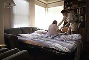 Losing Betsy - Coaxing and Caring<br /> Betsy can no longer remember how to stand up, so her husband, Jeff, must coax her;  he turned their living room into their bedroom when Betsy could no longer walk up and down stairs.