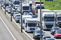 &copy; Licensed to London News Pictures.04/05/2018<br /> DARTFORD, UK.<br /> Photo credit:Grant Falvey/LNP<br /> TIME 12.30PM<br /> May bank holiday weekend getaway traffic hell on the M25 at Junction 2, Anti Clock-wise towards Dartford crossing.