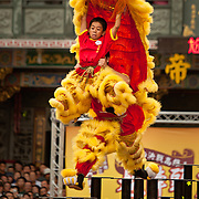 Kaohsiung's Wansheng Lion Dance Team during preliminary competition, Kaohsiung Lion Dance Festival 2010, GuangJi Temple, Qianzhen, Kaohsiung City, Taiwan