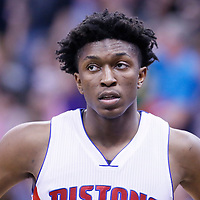 25 January 2016: Detroit Pistons forward Stanley Johnson (3) rests during the Detroit Pistons 95-92 victory over the Utah Jazz, at the Vivint Smart Home Arena, Salt Lake City, Utah, USA.