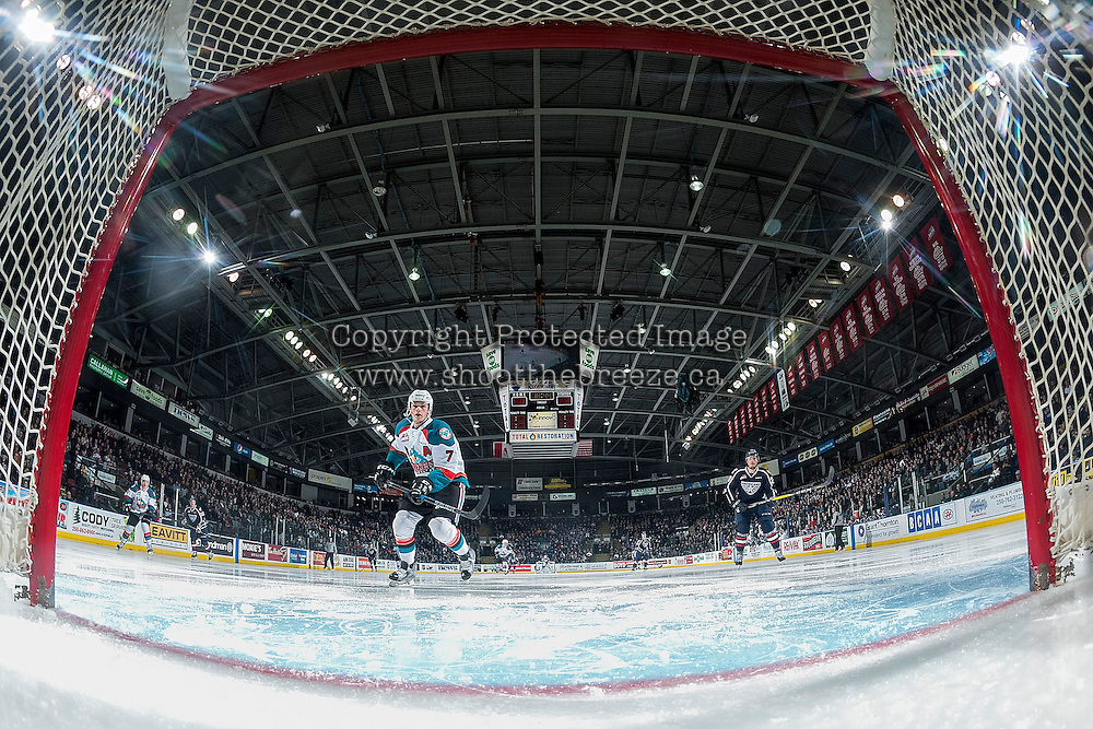 KELOWNA, CANADA - MARCH 4: Lucas Johansen #7 of the Kelowna Rockets skates past the empty net against the Tri-City Americans on March 4, 2017 at Prospera Place in Kelowna, British Columbia, Canada.  (Photo by Marissa Baecker/Shoot the Breeze)  *** Local Caption ***