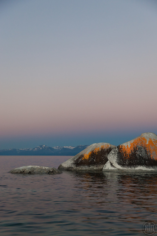 """Tahoe Boulders at Sunrise 8"" - These orange, black, and grey boulders were photographed at sunrise from a kayak near Speedboat Beach, Lake Tahoe."