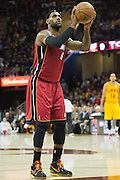 CLEVELAND, OH - MARCH 20: LeBron James #6 of the Miami Heat shoots a free throw during the first half against the Cleveland Cavaliers at Quicken Loans Arena on March 20, 2013 in Cleveland, Ohio. NOTE TO USER: User expressly acknowledges and agrees that, by downloading and or using this photograph, User is consenting to the terms and conditions of the Getty Images License Agreement. (Photo by Jason Miller/Getty Images)  *** Local Caption *** LeBron James