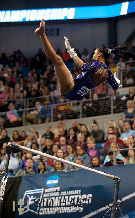 21 APRIL 2018 -- ST. LOUIS -- LSU gymnast Kennedi Edney competes on the Uneven Parallel Bars during the 2018 NCAA Women's Gymnastics Championship Super Six at Chaifetz Arena in St. Louis Saturday, April 21, 2018.<br /> Photo &copy; copyright 2018 Sid Hastings.