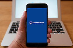 Using iPhone smart phone to display website logo of Standars Bank of South Africa