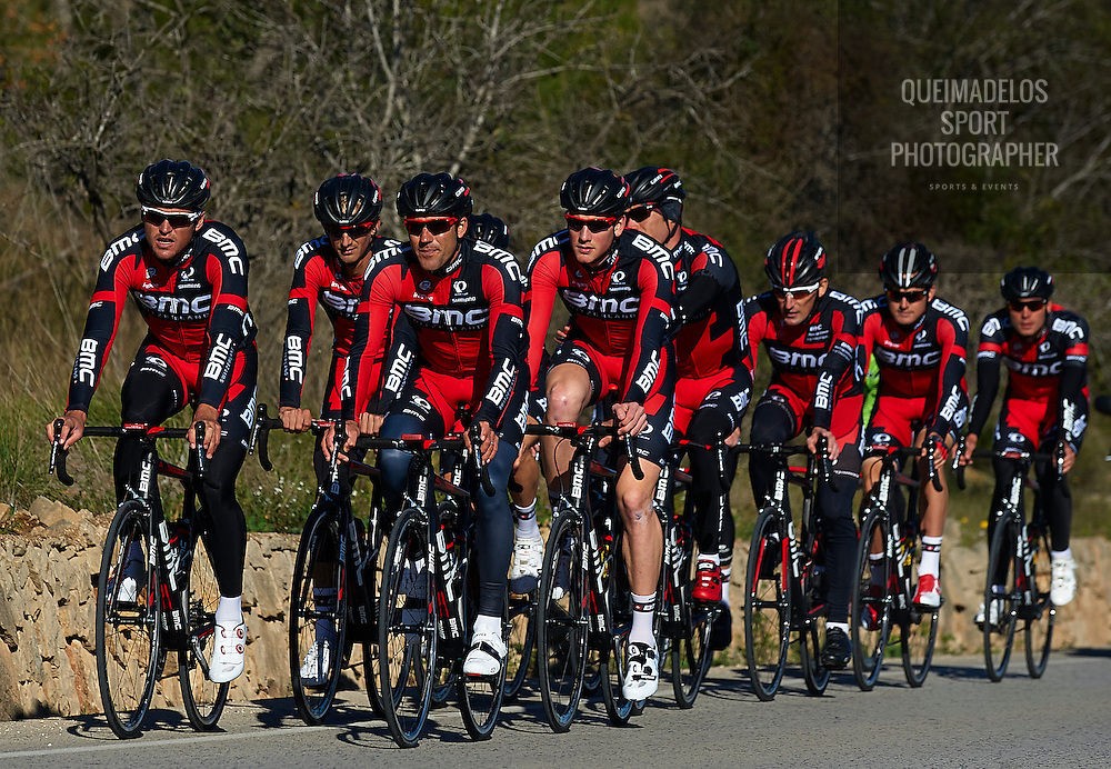 DENIA, SPAIN:  Riders pictured in action during a training session of the BMC Racing Team  in Denia, near Alicante, Wednesday 17 December 2014. BELGA PHOTO MANUEL QUEIMADELOS