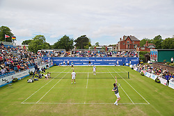 LIVERPOOL, ENGLAND - Saturday, June 20, 2015: Richard Krajicek (NED) serves during Day 3 of the Liverpool Hope University International Tennis Tournament at Liverpool Cricket Club. (Pic by David Rawcliffe/Propaganda)