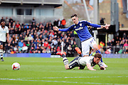 Cardiff City striker, Tom Lawrence (37) fouling Fulham midfielder and captain, Scott Parker (08) during the Sky Bet Championship match between Fulham and Cardiff City at Craven Cottage, London, England on 9 April 2016. Photo by Matthew Redman.