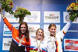 14.06.2014, Bike Park, Leogang, AUT, UCI, Mountainbike Weltmeisterschaften Four Cross, Leogang, Downhill, Damen, im Bild Podium v.l.: Sibermedaillen Gewinnerin Anneke Beerten (NED), Weltmeisterin Katy Curd (GBR) und Bronzemedaillen Gewinnerin Steffi Marth (GER) // during Womens UCI Mountainbike Four Cross World championships at the Bikepark, Leogang, Austria on 2014/06/14. EXPA Pictures © 2014, PhotoCredit: EXPA/ JFK