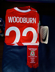 TBILSI, GEORGIA - Friday, October 6, 2017: The shirt of Wales' Ben Woodburn laid out in the dressing room before the 2018 FIFA World Cup Qualifying Group D match between Georgia and Wales at the Boris Paichadze Dinamo Arena. (Pic by David Rawcliffe/Propaganda)