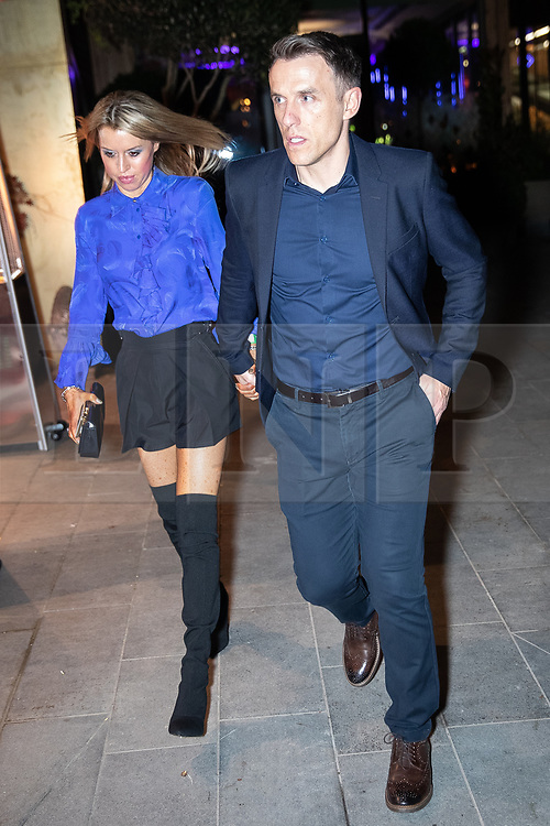 © Licensed to London News Pictures . 23/11/2018. Manchester , UK . Phil and Julie Neville leave during the opening event of The Ivy restaurant and bar venue in Spinningfields in Manchester City Centre . Photo credit : Joel Goodman/LNP