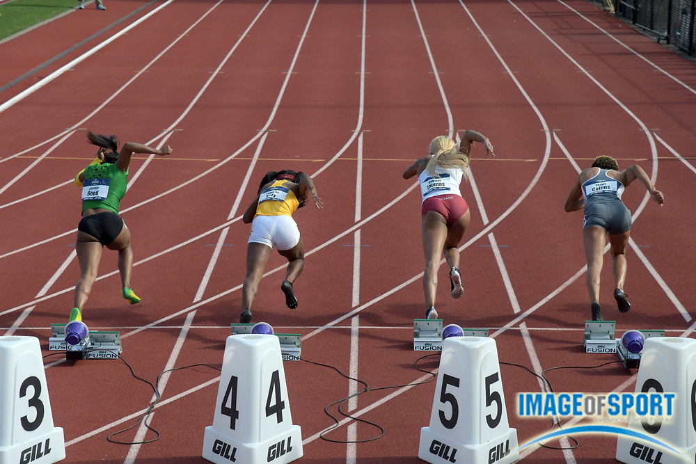 Jun 7, 2018; Eugene, OR, USA; Sprinters in the starting blocks of a women's 100m haet during the NCAA Track and Field championships at Hayward Field. From left: Jasmin Reed (Oregon), Twanisha Terry (Southern California), Gabrielle Thomas (Harvard) and Shania Collins (Tennessee).