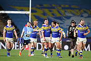 Leeds Rhinos centre Joel Moon (6) scores a try and Leeds Rhinos celebrate during the Betfred Super League match between Hull FC and Leeds Rhinos at Kingston Communications Stadium, Hull, United Kingdom on 19 April 2018. Picture by Mick Atkins.