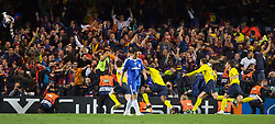 LONDON, ENGLAND - Wednesday, May 6, 2009: Barcelona's Andres Iniesta celebrates scoring an dramatic injury time winning away goal to knock Chelsea out during the UEFA Champions League Semi-Final 2nd Leg match at Stamford Bridge. (Photo by Carlo Baroncini/Propaganda)