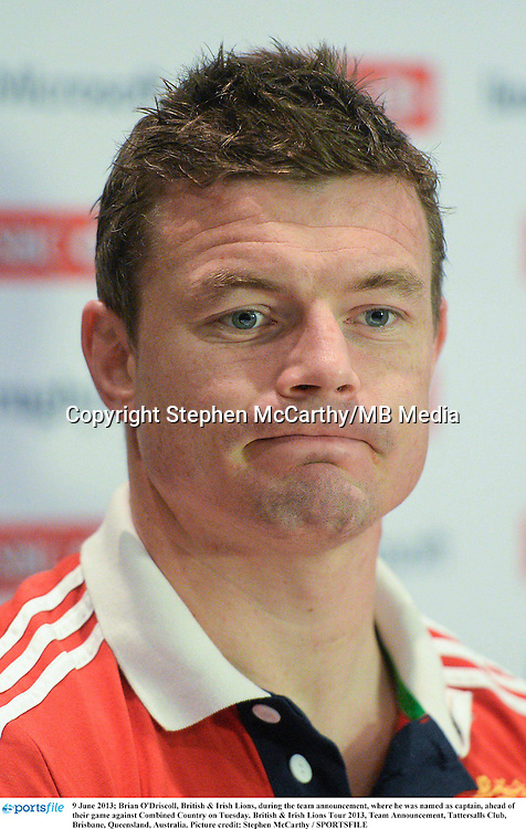 9 June 2013; Brian O'Driscoll, British & Irish Lions, during the team announcement, where he was named as captain, ahead of their game against Combined Country on Tuesday. British & Irish Lions Tour 2013, Team Announcement, Tattersalls Club, Brisbane, Queensland, Australia. Picture credit: Stephen McCarthy / SPORTSFILE