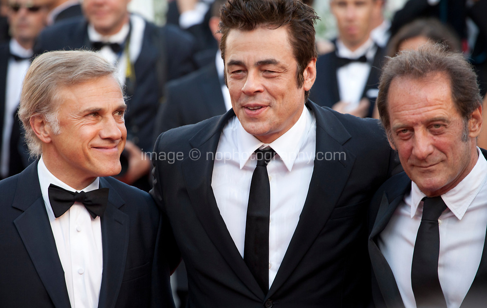 Christoph Waltz, Benicio del Toro and Vincent Lindon at the 70th Anniversary Ceremony arrivals at the 70th Cannes Film Festival Tuesday 23rd May 2017, Cannes, France. Photo credit: Doreen Kennedy