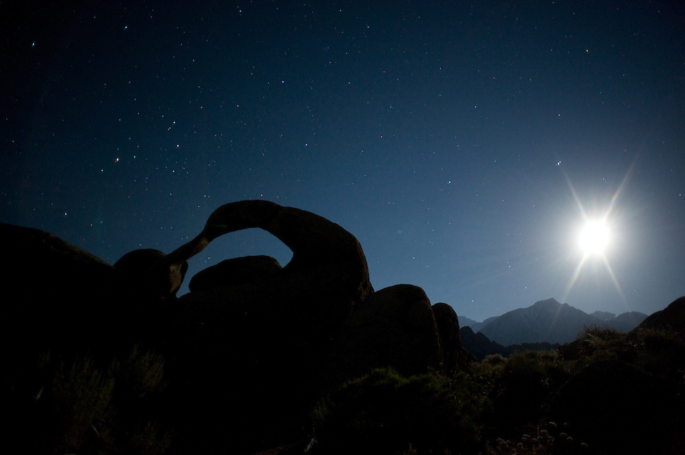 Mobias Arch beneath a falling moon and Scorpio on a night in June.