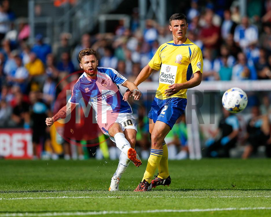 Matt Taylor of Bristol Rovers is challenged by Matty Pearson of Accrington Stanley - Mandatory byline: Rogan Thomson/JMP - 07966 386802 - 12/09/2015 - FOOTBALL - Memorial Stadium - Bristol, England - Bristol Rovers v Accrington Stanley - Sky Bet League 2.
