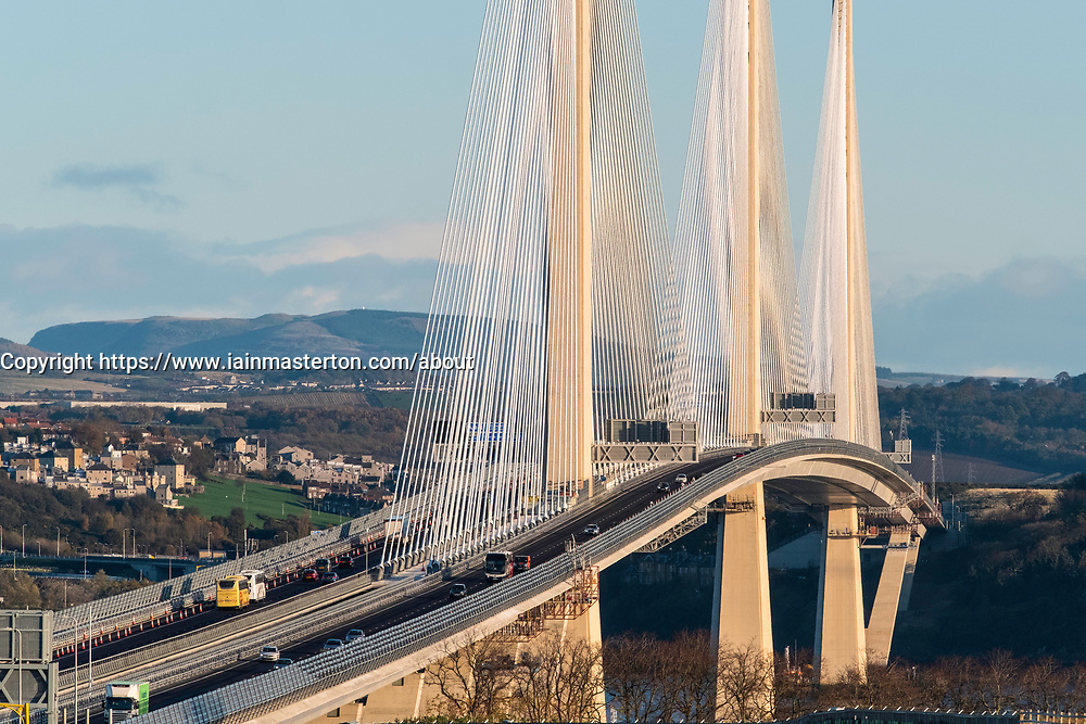 View of new Queensferry Crossing bridge spanning the Firth of Forth between West Lothian and Fife in Scotland, United Kingdom.