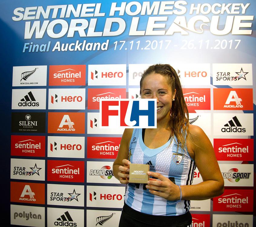 AUCKLAND - Sentinel Hockey World League final women<br /> Match id: 10307<br /> Rocio Sanchez 200 matches.<br /> WORLDSPORTPICS COPYRIGHT FRANK UIJLENBROEK