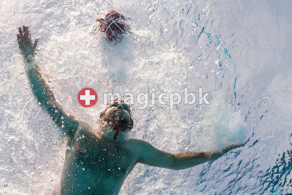 SV Basel water polo players are pictured during an under water photo session at the Sportbad St. Jakob in Basel, Switzerland, Saturday, May 23, 2015. (Photo by Patrick B. Kraemer / MAGICPBK)