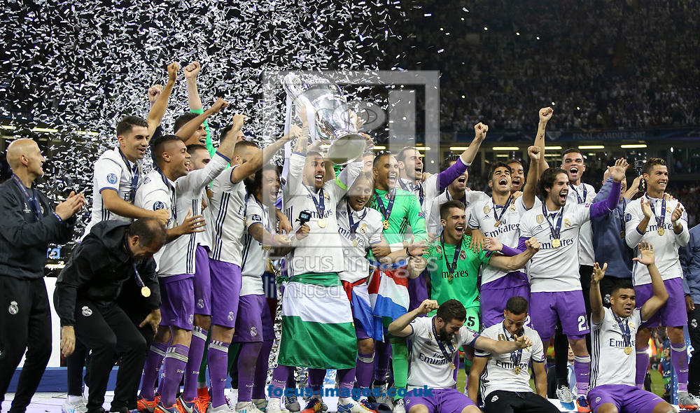 Real Madrid celebrate winning the UEFA Champions League Final at the Principality Stadium, Cardiff<br /> Picture by Mike Griffiths/Focus Images Ltd +44 7766 223933<br /> 03/06/2017