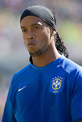 9 September 2007: Brazil National Team midfielder Ronaldinho (10) prior to the start of   an International Friendly meeting between Brazil and the United States National Team at Soldier Field in Chicago, IL. Brazil won the match 4-2.