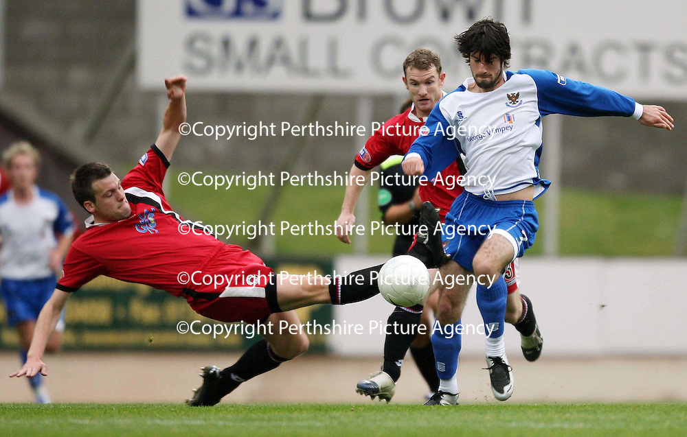 St Johnstone v Clyde....27.10.07<br /> Rocco Quinn is fouled by Craig McKeown<br /> Picture by Graeme Hart.<br /> Copyright Perthshire Picture Agency<br /> Tel: 01738 623350  Mobile: 07990 594431