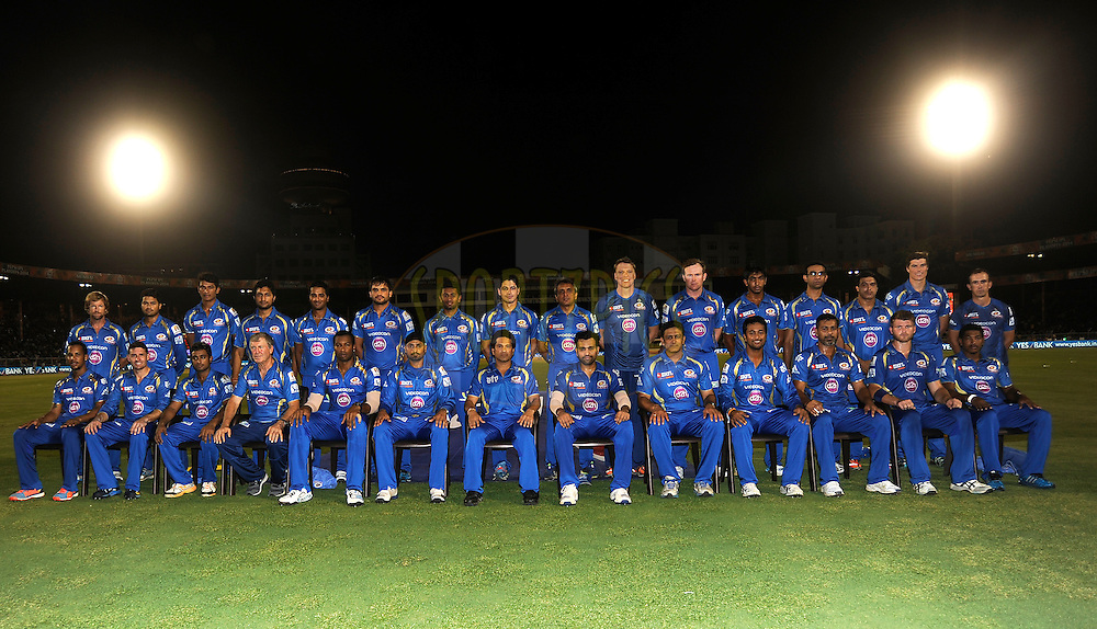 Team Mumbai Indians pose for a team photo during the eliminator match of the Pepsi Indian Premier League Season 2014 between the Chennai Superkings and the Mumbai Indians held at the Brabourne Stadium, Mumbai, India on the 28th May  2014<br /> <br /> Photo by Pal PIllai / IPL / SPORTZPICS<br /> <br /> <br /> <br /> Image use subject to terms and conditions which can be found here:  http://sportzpics.photoshelter.com/gallery/Pepsi-IPL-Image-terms-and-conditions/G00004VW1IVJ.gB0/C0000TScjhBM6ikg